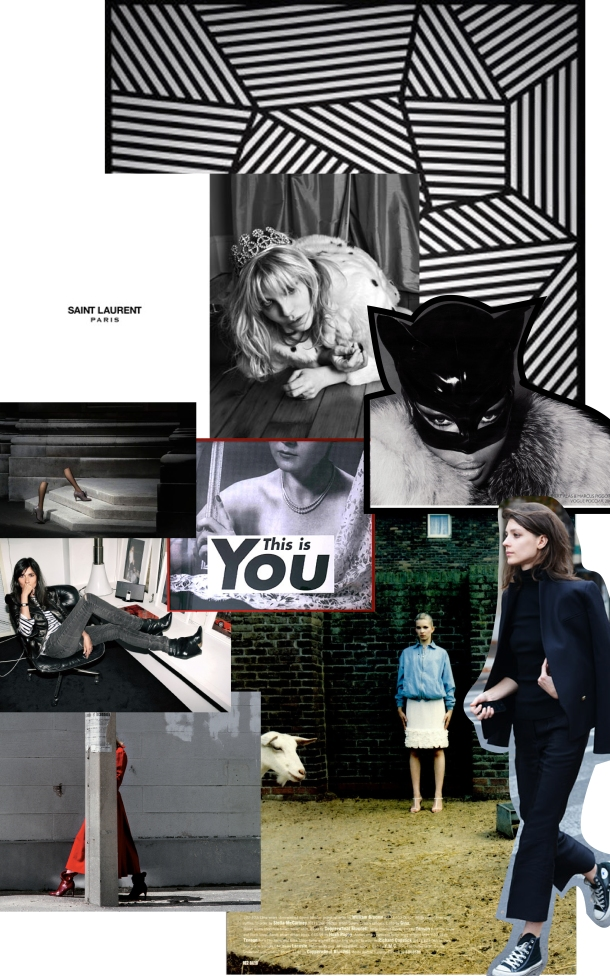 Photo Credit: Slogan art by Barbara Kruger, Legs on steps/Woman on sidewalk by Guy Bourdin, street style image by Tommy Ton, Emanuelle Alt at her desk, Peter Gehrke for Dazed and Confused, geometric art by Sol LeWitt, Naomi Campbell as Catwoman for Vogue Russia, Kim Gordon for Saint Laurent